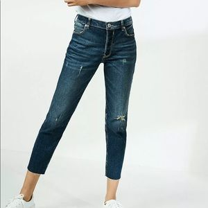 Express high waisted jeans distressed girlfriend